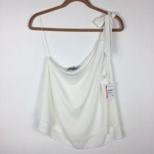 Meghan LA Top One Shoulder Sleeve tie white